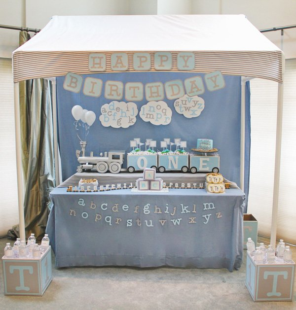 alphabet train first birthday paryt dessert table - gray and blue