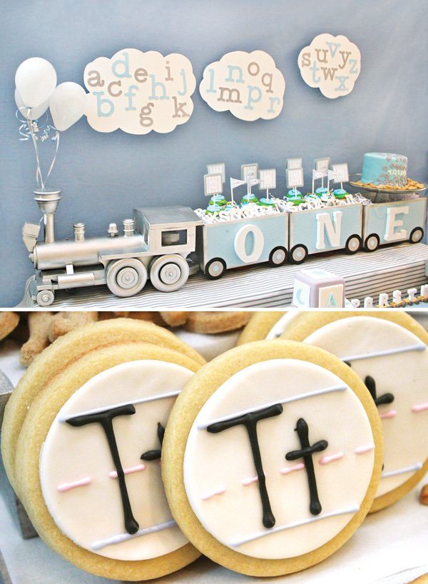 adorable alphabet train themed dessert table and cookies
