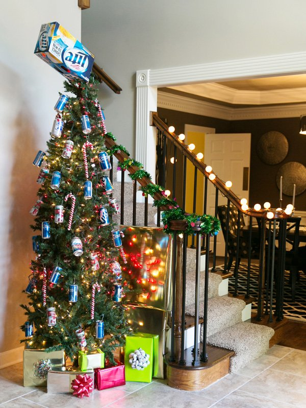 tacky miller lite beer can and box decorated christmas tree