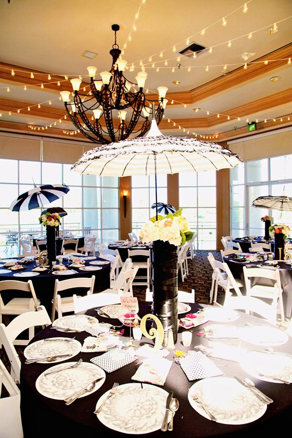 vintage black, white and lace parasol centerpiece for paris themed party