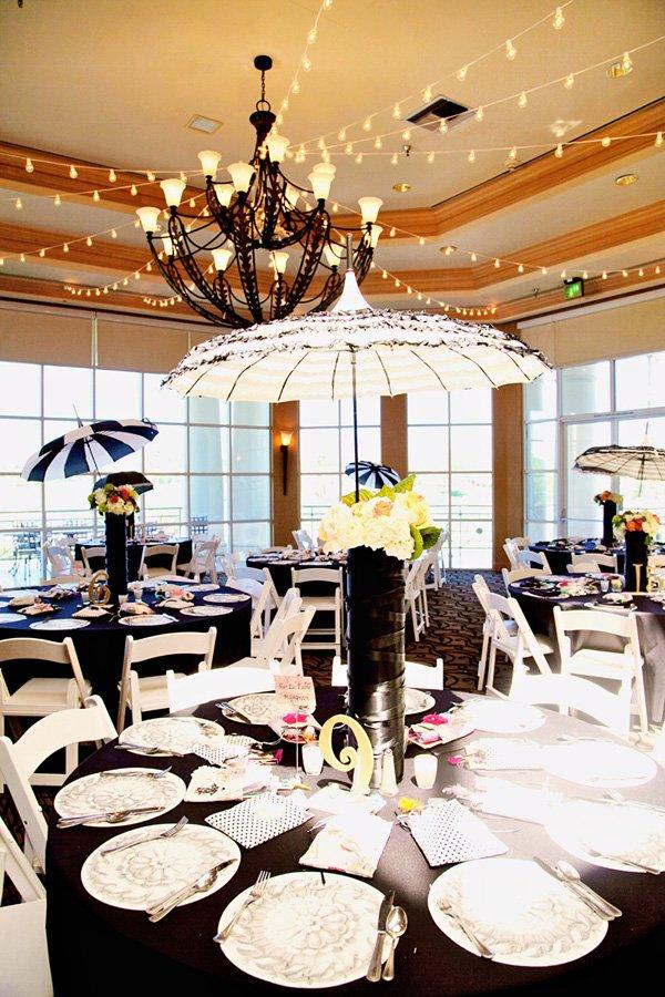 vintage black, white and lace parasol centerpiece for paris themed party