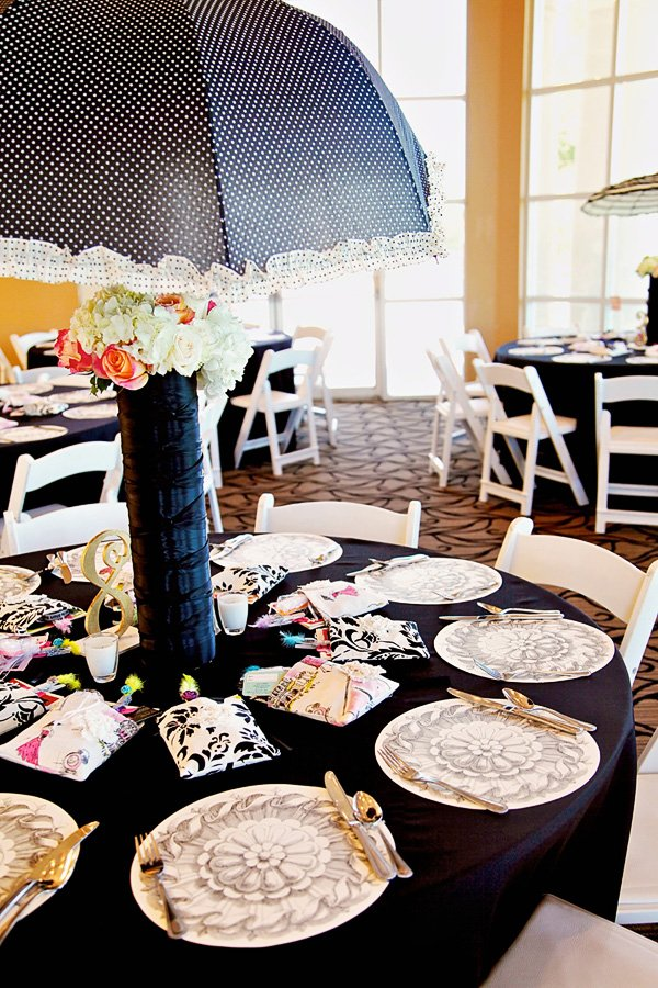 vintage black and white polka dotted umbrella centerpiece on parisian set table