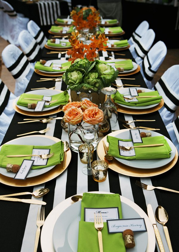 black white gold green table with bold stripes