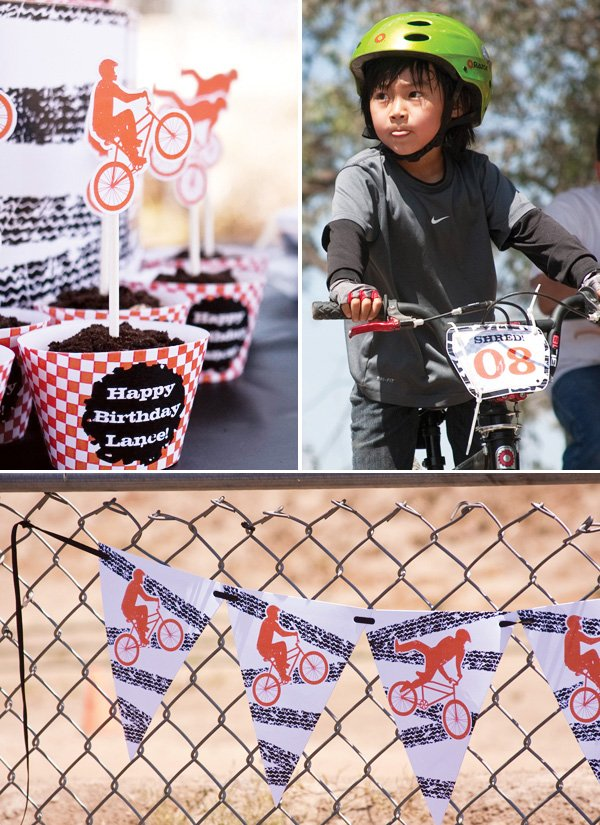 bmx birthday cupcakes, banner, and bike sign