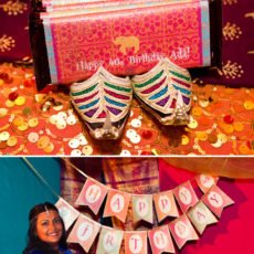 bollywood birthday banner and chocolate bars