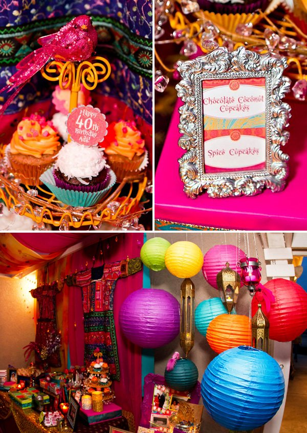 bollywood 40th birthday cupcakes, lanterns, and decorations
