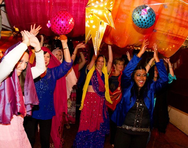 bollywood party guests dancing and having fun