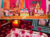 bollywood dessert table with coconut sugar candies