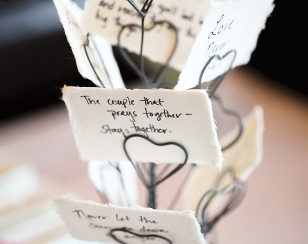 A heart tree of messages as a part of the activity for a bridal shower