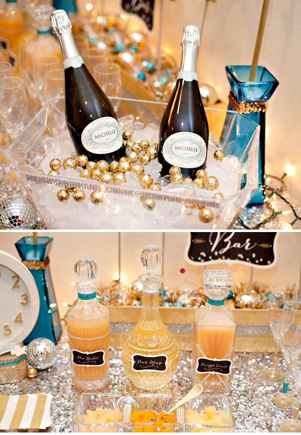 Michelle champagne on ice and mixers in glass decanters