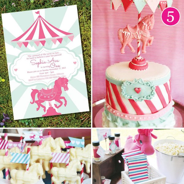 pink carousel and horse themed birthday party