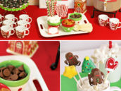 holicay cookie exchange hot cocoa bar with christmas cake pops and wooden spoons