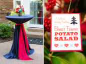 grandma's famous potato salad recipe and beautiful blue fabric and red ribbon decorated tables and centerpieces