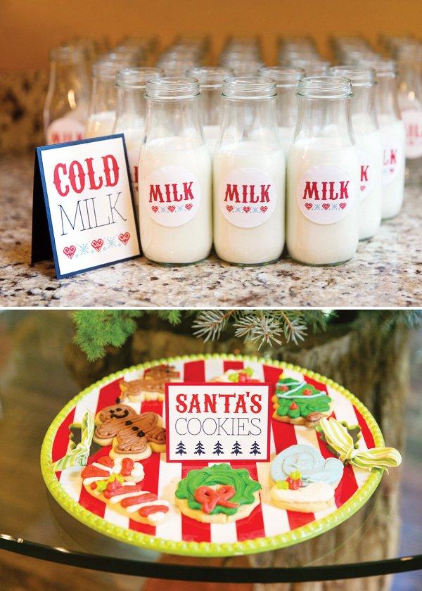 glass ilk jars and christmas cookies for Santa