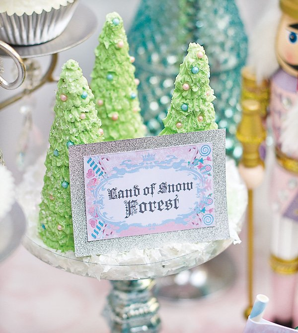 land of snow forest christmas tree cakes for a nutcracker party