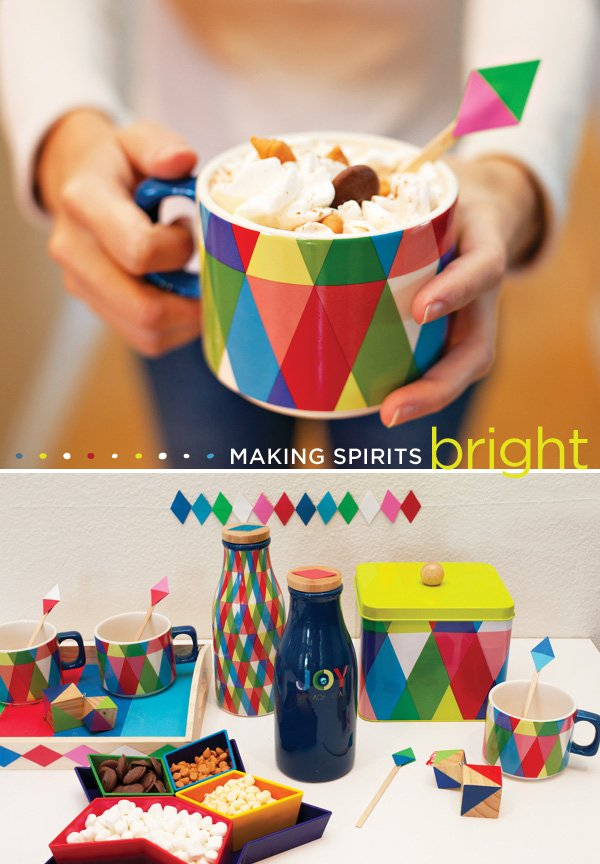 colorful hot cocoa bar ideas - merry mod holiday