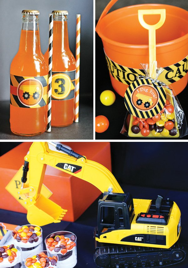 construction party orange drinks and dump truck favors