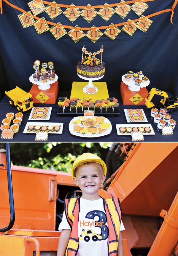 construction party dessert table and birthday boy outfit