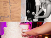 custom wedding program and the couple cutting a white tiered cake
