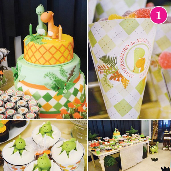 dinosaur birthday party with egg cupcakes and green and orange dino cake