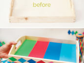diy geometric party tray - before and after