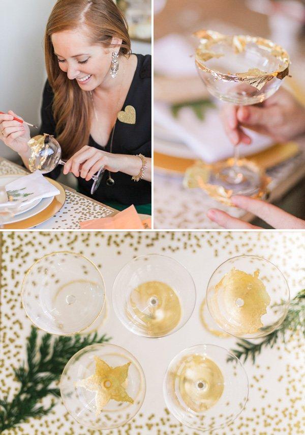 DIY make your own gold leaf champagne glasses