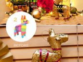 DIY Gold Mini Burro PInatas - Before and After