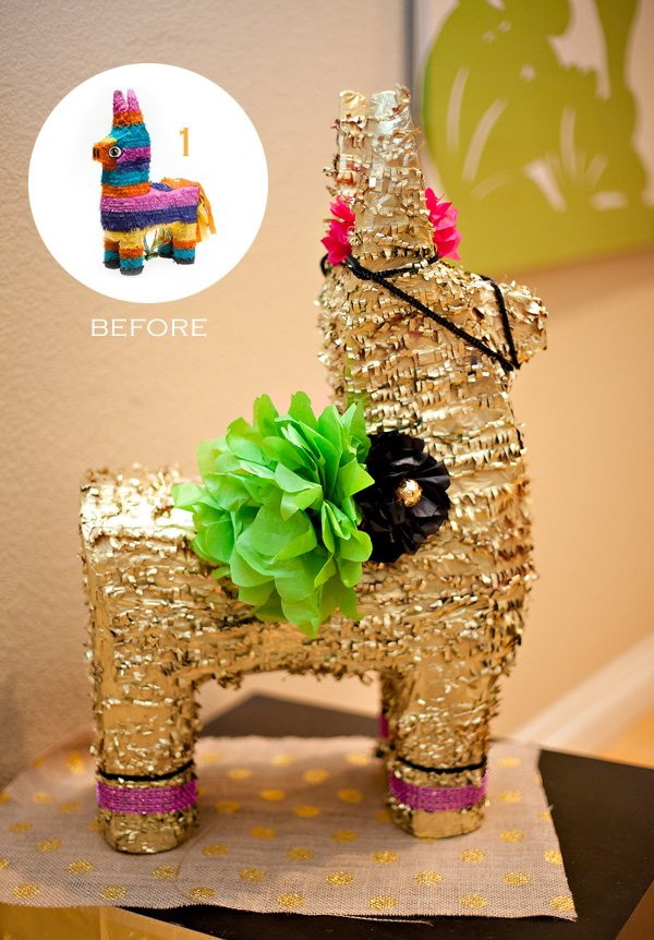 DIY Gold Burro Pinata - Before and After
