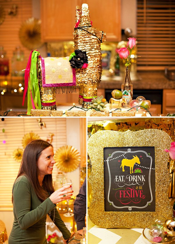 DIY gold painted and decorated pinata and glitter frame with HWTM party printable
