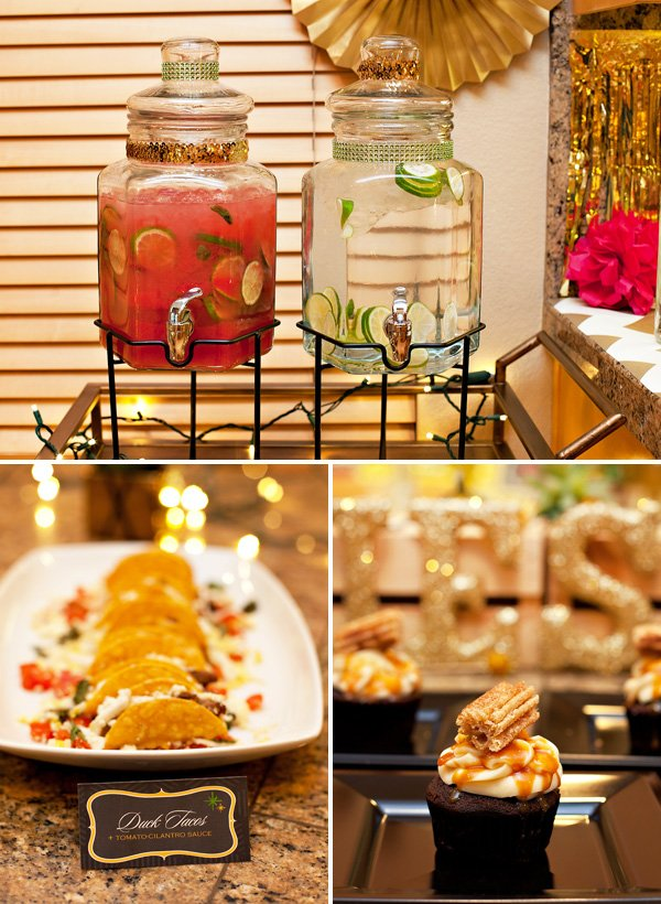 The food, drinks and desserts served at a Sauza Sparkling Holiday Fiesta by HWTM