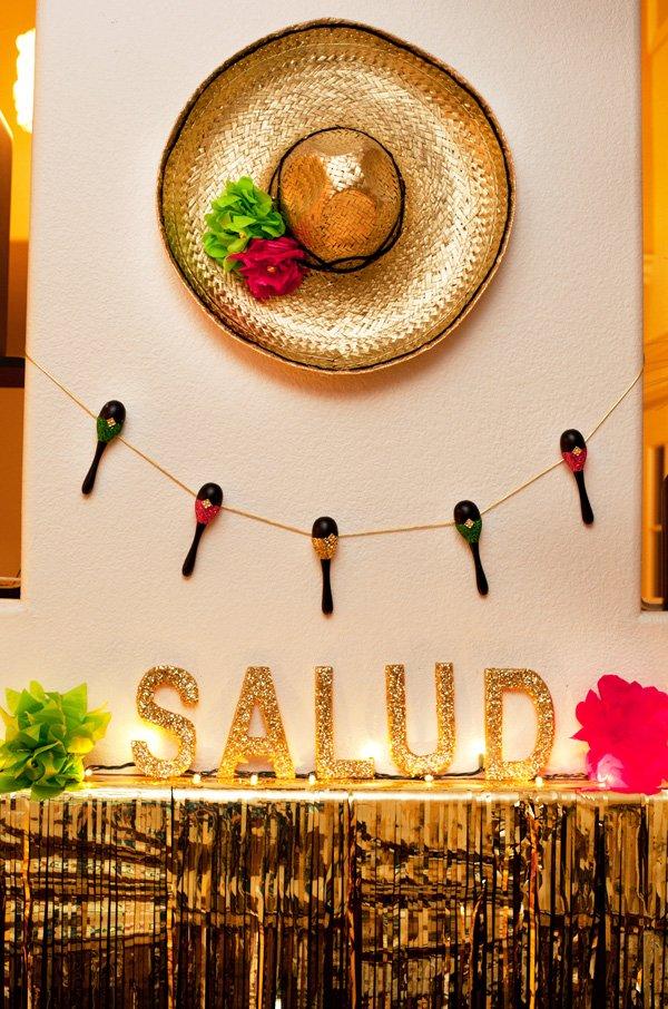 sauza fiesta maracas garland, salud and gold sombrero