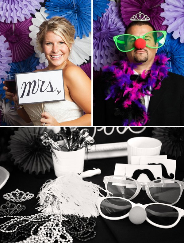 the wedding couple in funny photo booth pictures and props