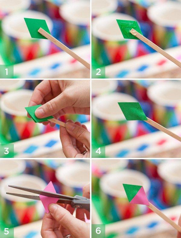 diy tutorial - geometric stir sticks step by step
