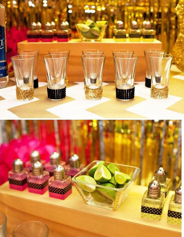 DIY glittered and rhinestone shot glasses for sauza's holiday fiesta
