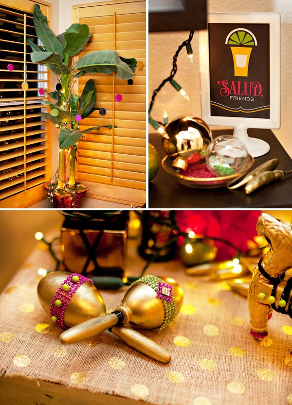 glittery sauza fiesta decorations with fairy twinkle lights and gold maracas by HWTM