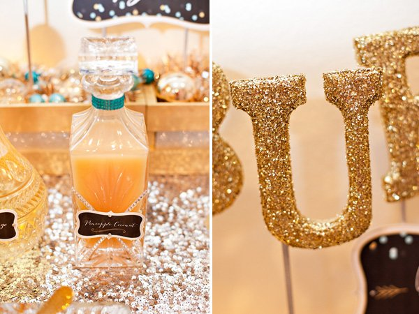 Gold and silver new years eve party with bubbly sign and decanters