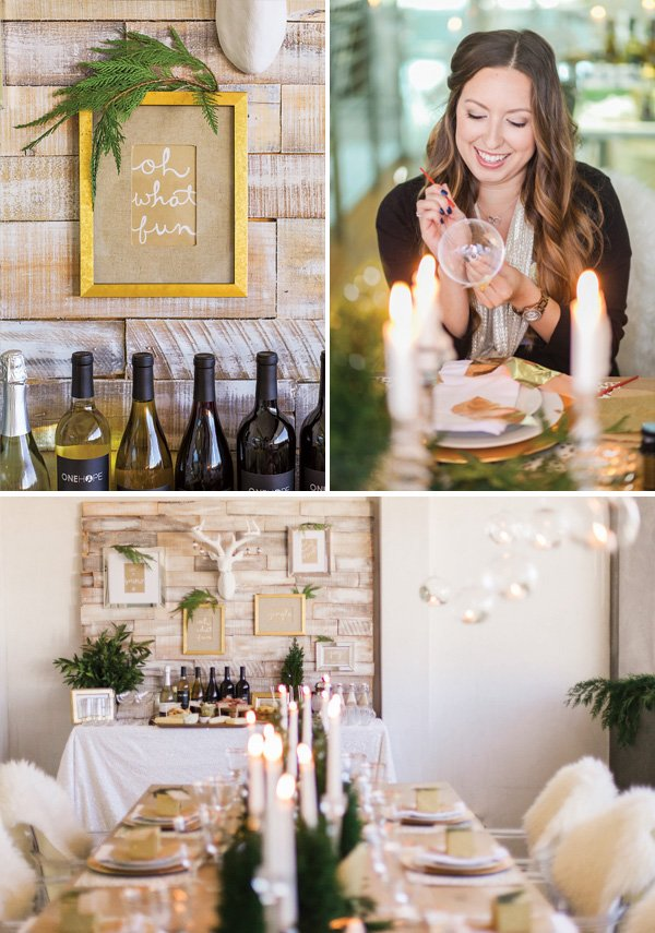 a gold and glitter holiday party with DIY crafts and wine