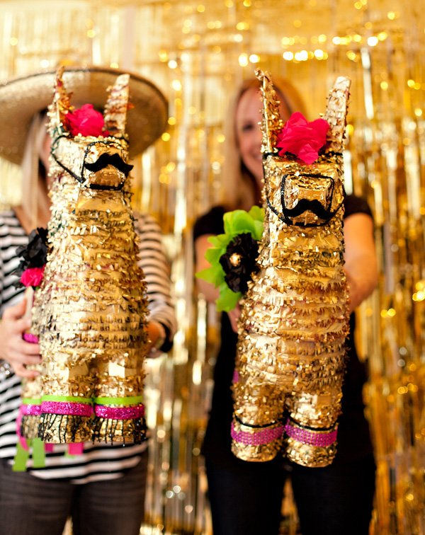 DIY Gold Burro PInata with Tissue Flowers and Mustaches