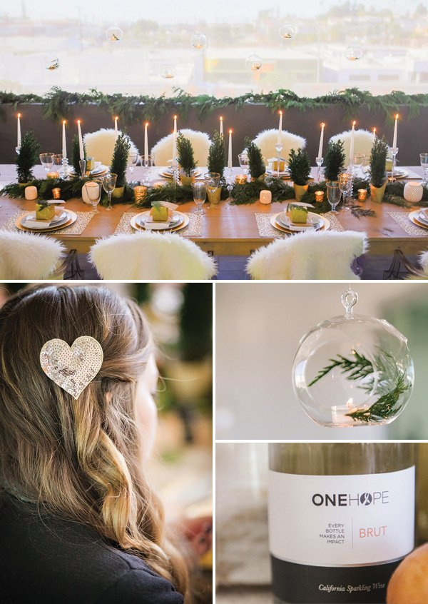 gold and white holiday pary tablescape with mini terrariums, white fur chair backs, onehope wine, and gold sequin hair clip