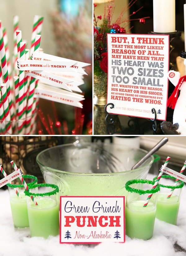 green grinch punch and printed quote for a tacky christmas engagement party in july