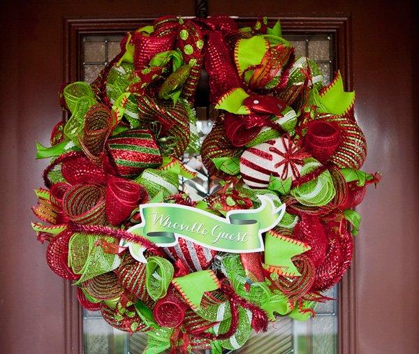 diy grinch themed christmas ribbon wreath