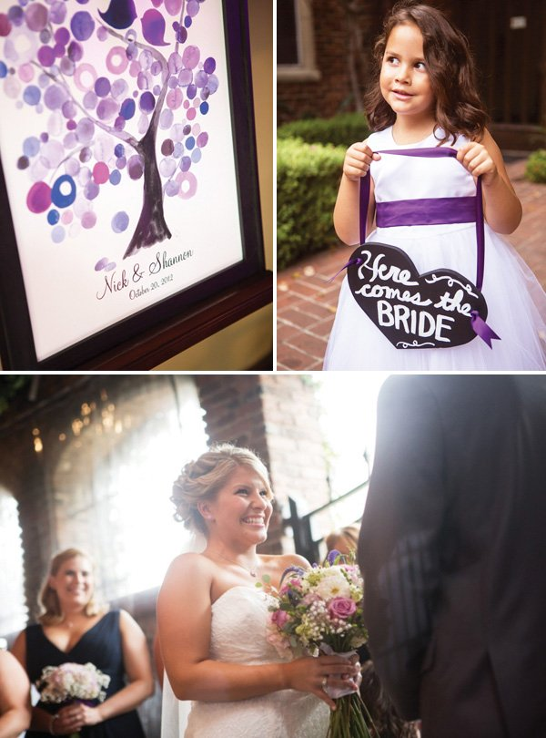 flower girl holding a here comes the bride sign, purple invitation and the bride walking down the aisle