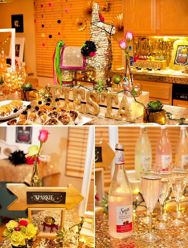 Sauza Sparkling Fiesta by HWTM for the Holidays with a gold pinata and margaritas