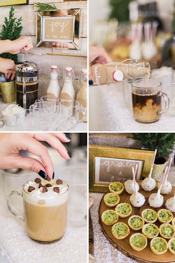 holiday party hot cocoa and coffee bar with baileys irish cream, plus mini appetizers