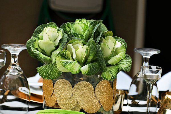 kale centerpiece with diy gold vase