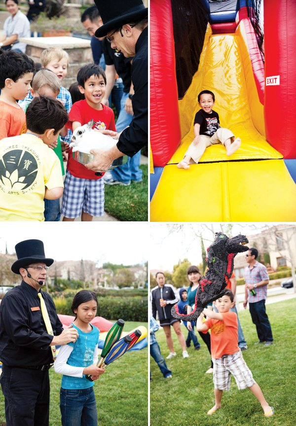 kids ninjago birthday party with pinata, blow up slice bounce house, magician and other activities