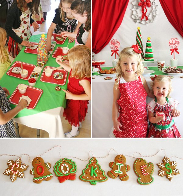 gingerbread cookie garland and house decorating for kids
