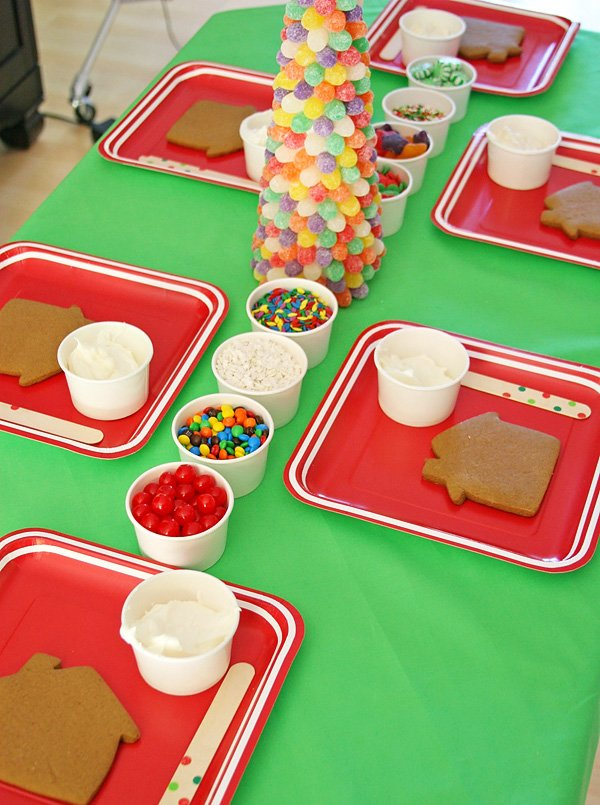 Beautiful Kindergarten Christmas Party Ideas Part - 2: Gingerbread House Decorating Party With Gumdrop Christmas Tree