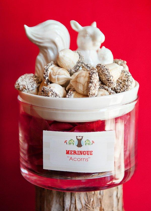 meringue acorns in a squirrel dish