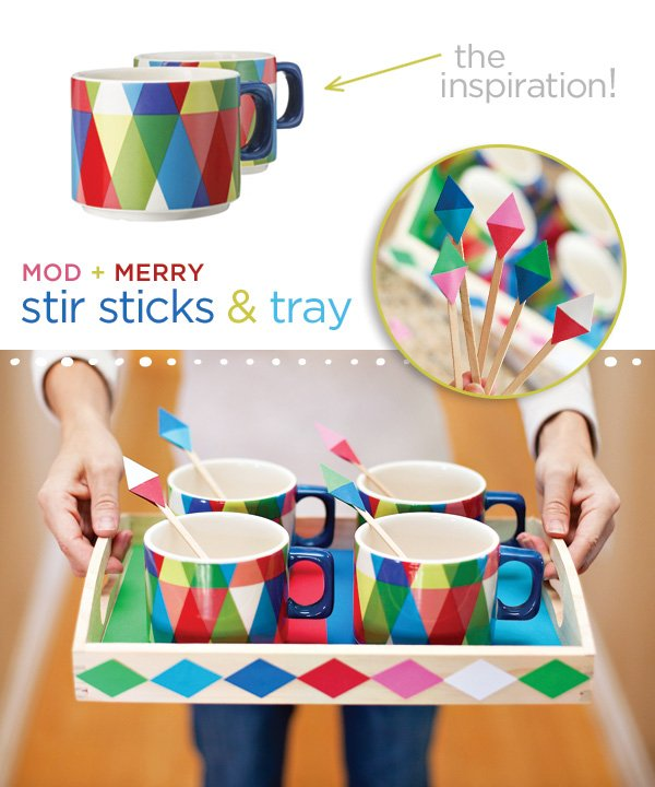 geometric hot cocoa bar - colorful modern christmas